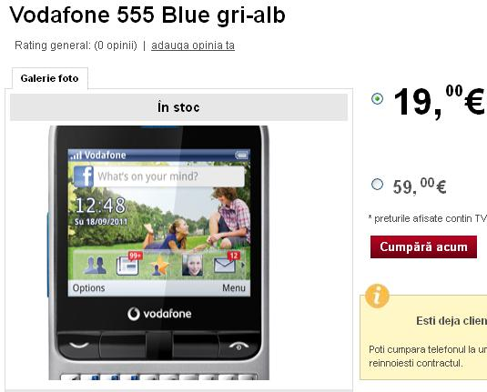 Telefonul Vodafone 555 blue pret